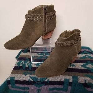 Olive Green Faux Suede Booties